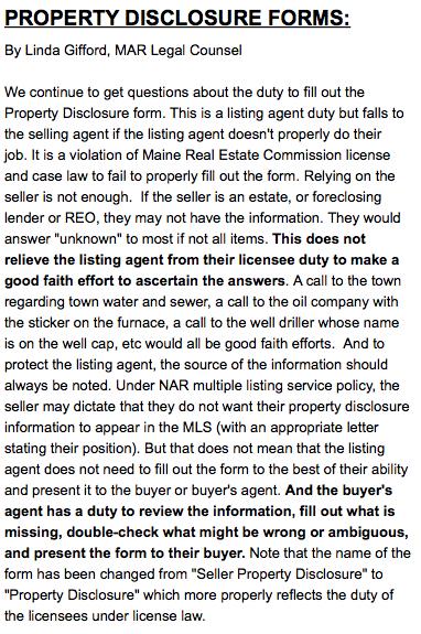Proper Property Disclosure Update