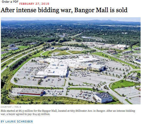 Bangor Mall Sale Headline and Lede