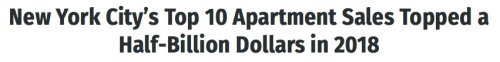 NYC Apartment Sales 2018 Headline