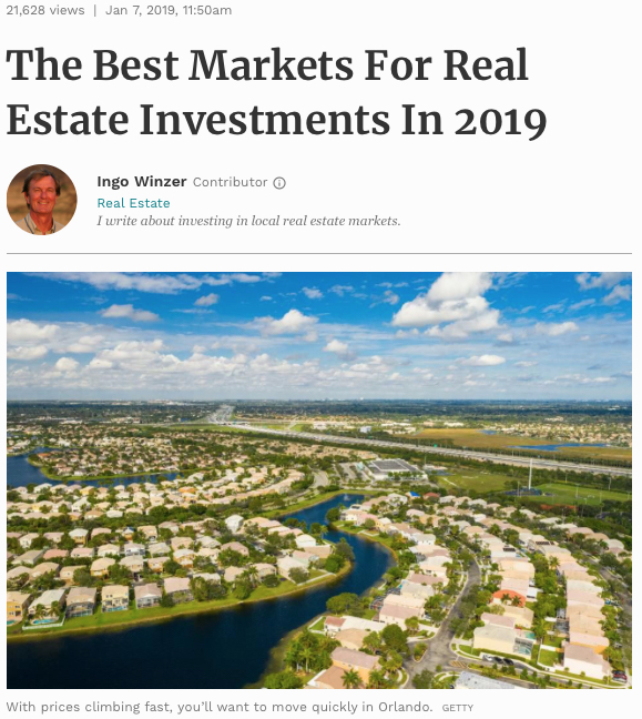 Best Real Investment Markets for 2019