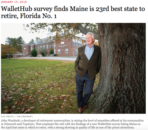 Maine Biz 23rd Best State to Retire In