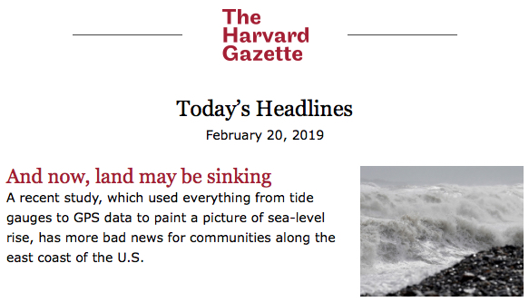 The Land is Sinking Headline Lede and Photo