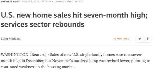 Reuters New Home Sales Report 03052019