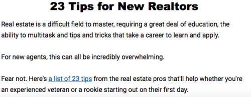 23 Tips for New Realtors Headline and Lede