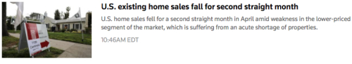 Home Sales Fall Headline and Lede 5212019