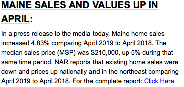 Maine Sales and Values Up in April 2019