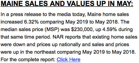 Maine Sales Up in May 2019