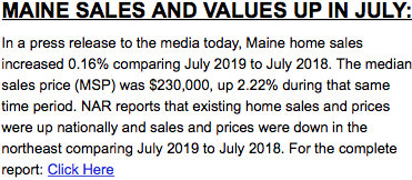 Maine Sales and Values Up in July