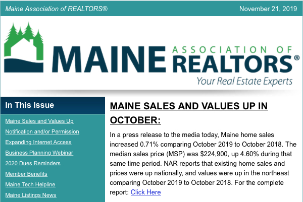 Maine Sales and Values Up in October 2019